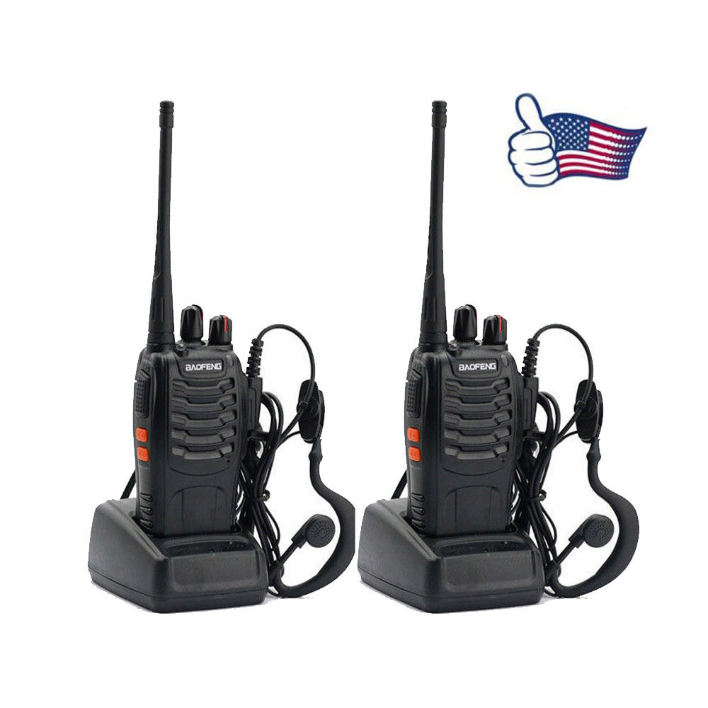 2 PCS Practical Baofeng Hand-Funkgert Walkie Talkie BF-888S UHF CTCSS Schwarz