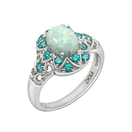 Gemour Platinum Plated Sterling Silver Created Opal and Swarovski Paraiba Mint Topaz Halo Ring , Size 8