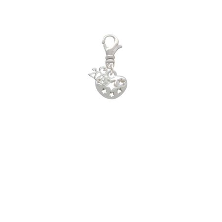 Small Cut Out Football Charm - Silvertone Small Heart with Cut Out Stars - 2019 Clip on Charm