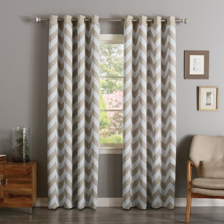 Quality Home Chevron Room Darkening Curtains - Stainless Steel Nickel Grommet - Beige - 52