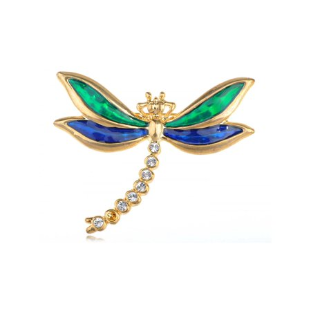Cobalt & Fashion Enamel Shiny Dragonfly Crystal Rhinestone Lovely Pin (Dragonfly Animal Brooch Pin)