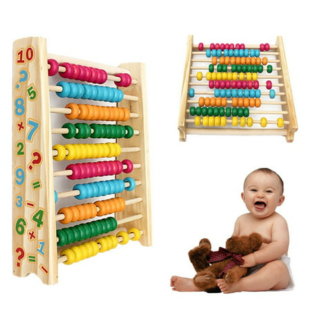 Wooden Abacus Classi c Math Number Colors Educational Counting Teaching Educational Toys w/100 Beads For Kid Baby (Row Abacus)