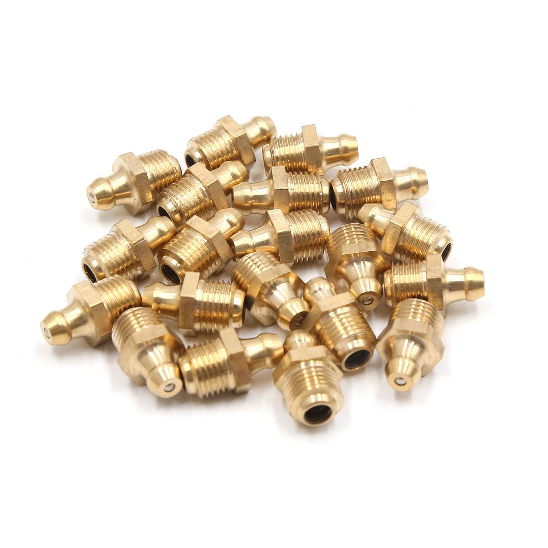 20Pcs M10 x 1 Thread Brass Straight Grease Zerk Nipple Fitting for Auto Car