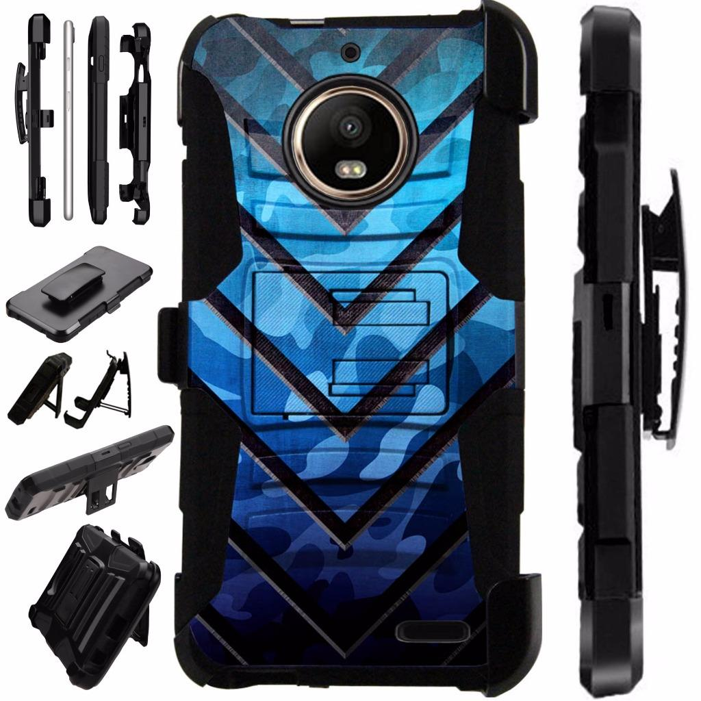For Motorola Moto E4 Case / Moto E 4 Case Armor Hybrid Cover Silicone Cover Kick Stand YBC Case LuxGuard Holster (Metal V Blue)