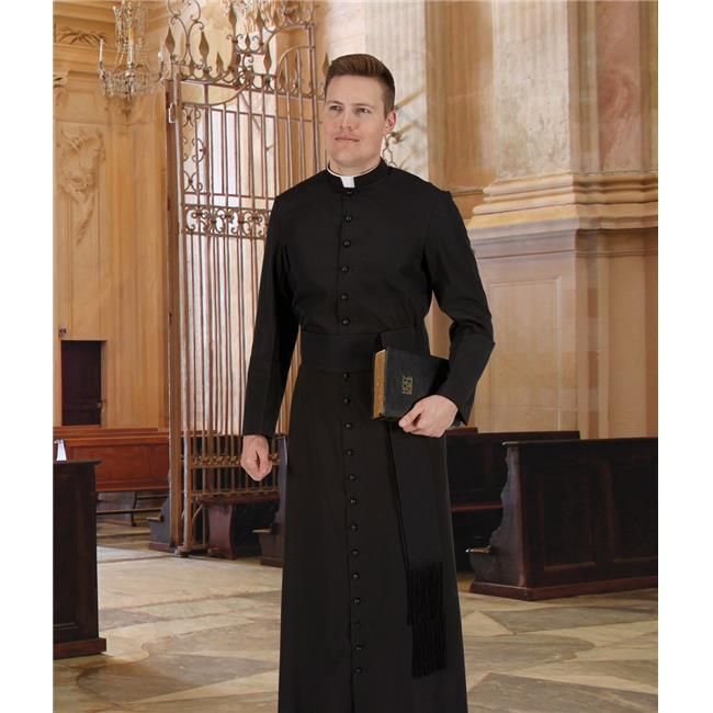 CBCS 390BLK4416-64 Year Rounder Roman Cassock, Black - 44 in. Chest - 16 in. Neck - 64 in. Back
