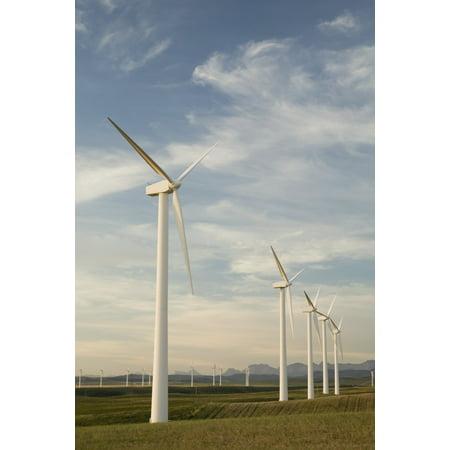 - Pincher Creek Alberta Canada Wind Turbines In A Row Stretched Canvas - Michael Interisano  Design Pics (12 x 19)