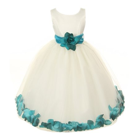 Little Girls Ivory Teal Floral Petals Organza Sash Flower Girl Dress