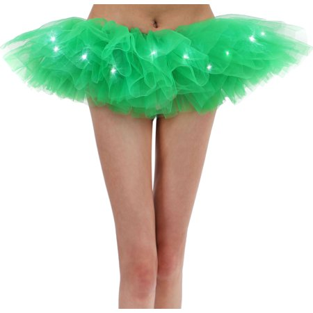 Women's Vintage Classic 5 Layered LED Light Up Tutu Skirt, - Led Skirt