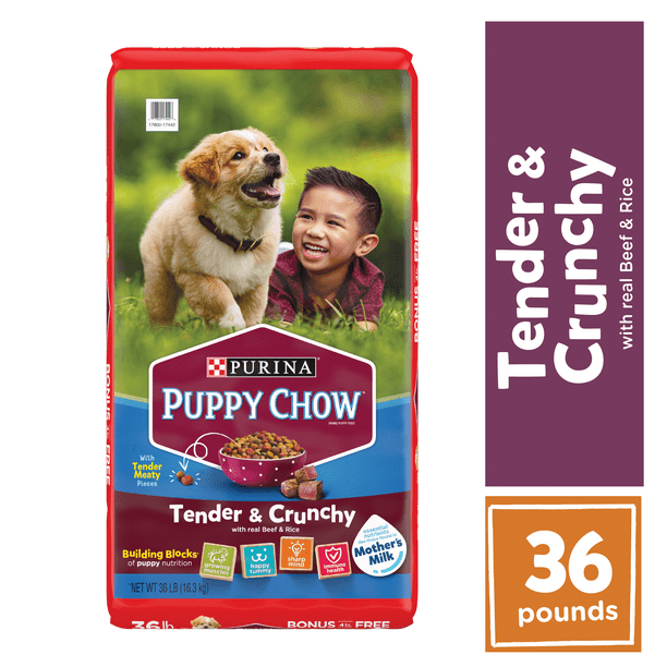 Purina Puppy Chow High Protein Dry Puppy Food, Tender & Crunchy with Real Beef, 36 lb. Bag