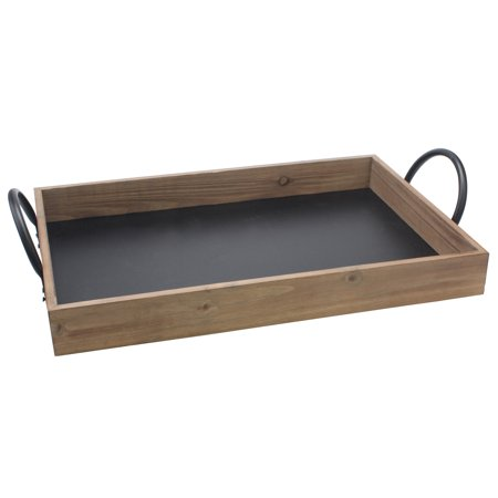 Stonebriar Decorative Wooden Rectangle Serving Tray With (Shell Handled Tray)
