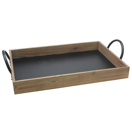 Stonebriar Decorative Wooden Rectangle Serving Tray With Handles ()