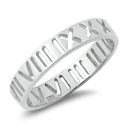 - High Polish Sterling Silver Roman Numeral Band Ring Size 10