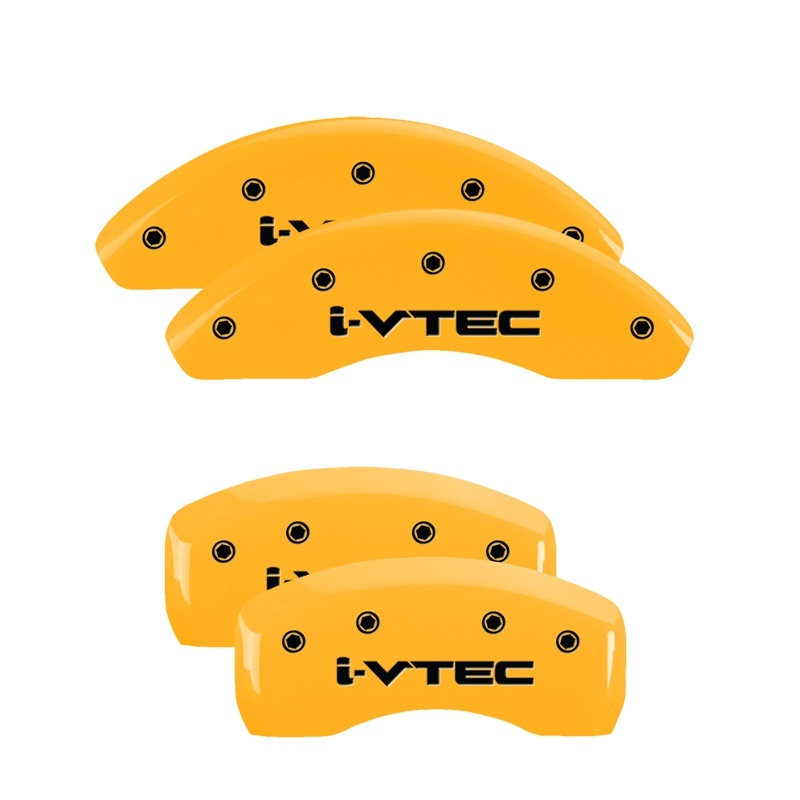 MGP 4 Caliper Covers Engraved Front & Rear Acura Yellow finish black ch