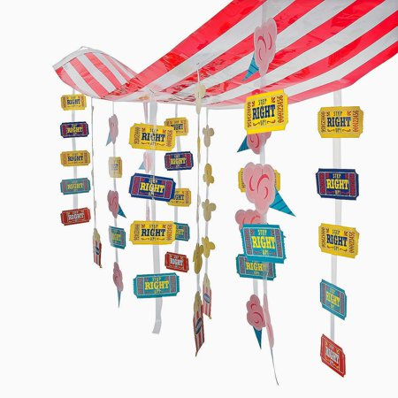 Carnival Circus Party Striped Hanging Ticket Ceiling Decoration, Adorable Carnvial Themed Party Decoration By Fun Express - Circus Carnival Decorations