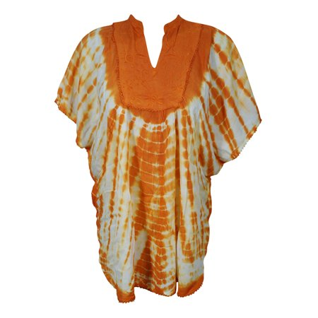 Mogul Womens Cover Up Top Tie Dye Neck Embroidered Loose Comfy Summer Kimono Style Beach Caftan Blouse 2XL Blouse India Clothing