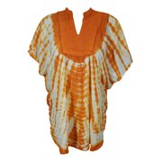 Mogul Womens Cover Up Top Tie Dye Neck Embroidered Loose Comfy Summer Kimono Style Beach Caftan Blouse 2XL