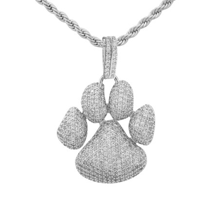 """14K White Gold Plated Iced Out Hip Hop Bling Dog Paw Print Pendant With 24"""" Rope Chain"""