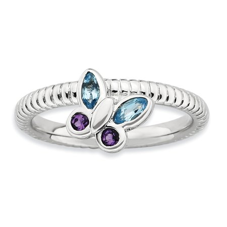 Sterling Silver Stackable Expressions Amethyst & Blue Topaz Butterfly Ring Size 5 - image 3 de 3