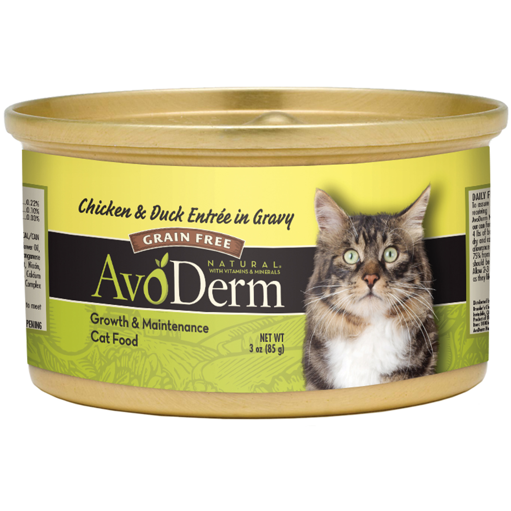 (4 Pack) AvoDerm Grain Free Natural Entree in Gravy Cat Food, 3-Ounce Cans