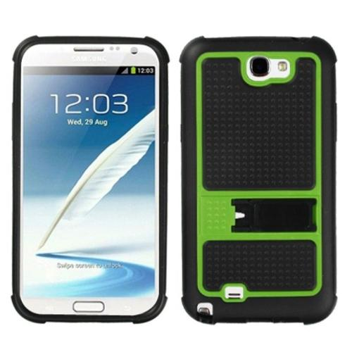 Insten Green Gummy Armor Case Stand for SAMSUNG: Galaxy Note II (T889/I605/N7100)