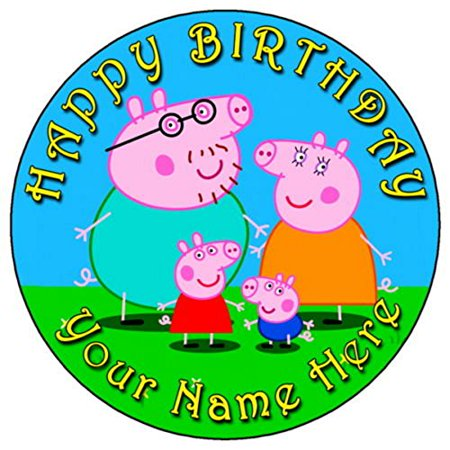 Peppa Pig Family Edible Frosting Image Cake Topper-7.5