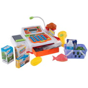 Pretend Cash Register – Supermarket Playset Toy with Play Money, Credit Card and Food, Barcode Scanner and Microphone by Hey! Play!