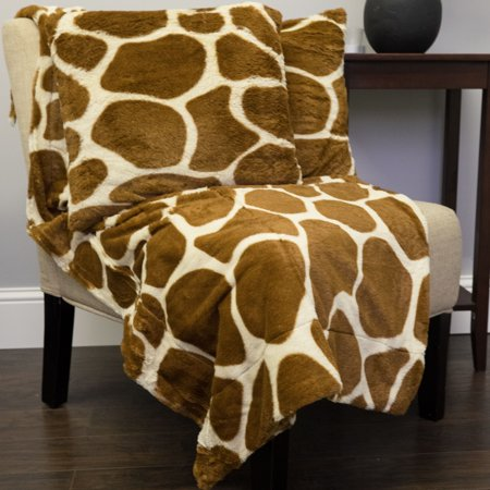 Faux Fur Throw And Pillow Set : Giraffe Print 3 Piece Plush Faux Fur Decorative Pillow and Throw Set - Walmart.com