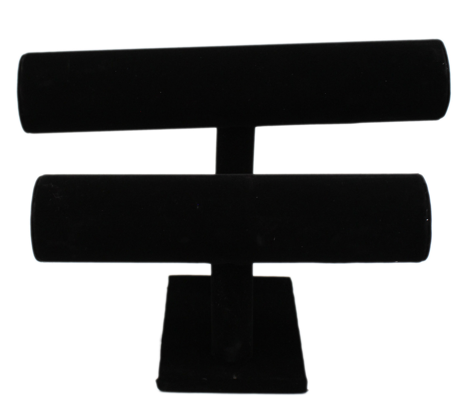 Faux Velvet Covered Black Dual Cylinder Jewelry Display Stand by