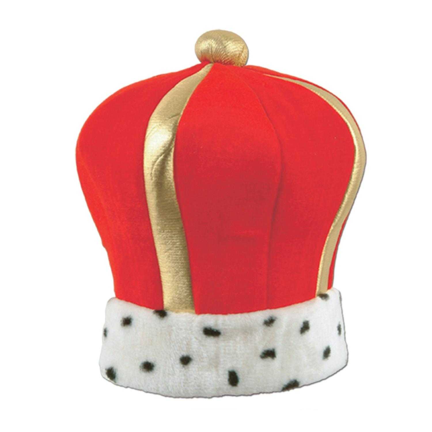 Club Pack of 12 Graceful Red and Gold Plush Imperial King's Crown Costume Accessories