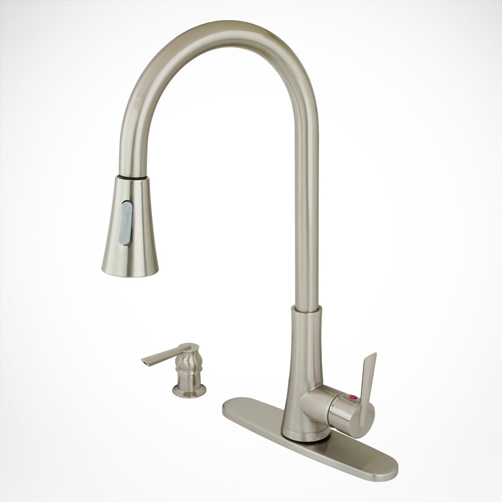Modern Brushed Nickel Kitchen Sink Faucet Pull Down Soap ...