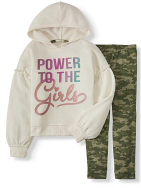 One Step Up Cozy Fashion Hoodie and Printed Legging, 2-Piece Outfit Set (Little Girls & Big Girls)