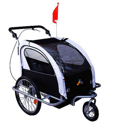 Aosom Elite II 3in1 Double Child Bike Trailer and Stroller - Black / White