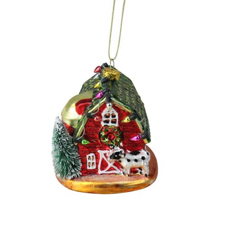 Northlight 3.5 in. Festive Glittered Dairy Barn with Christmas Lights Holiday Ornament ()