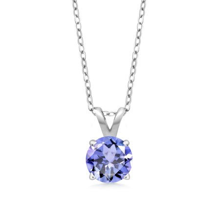 Ladies Tanzanite Pendant (0.46 Ct Round Blue Tanzanite 925 Sterling Silver Pendant With Chain )