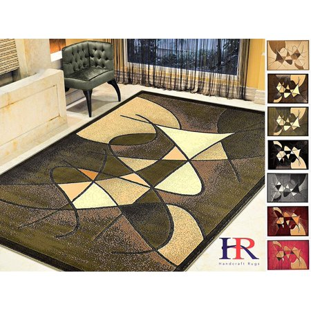 Handcraft Rugs-Modern Contemporary Living Room Rugs-Abstract Carpet with Round/Oval Swirls Pattern-Shed free Sage Green/Ivory/Mocha (8x10 feet ) (Red Carpet Entrance)