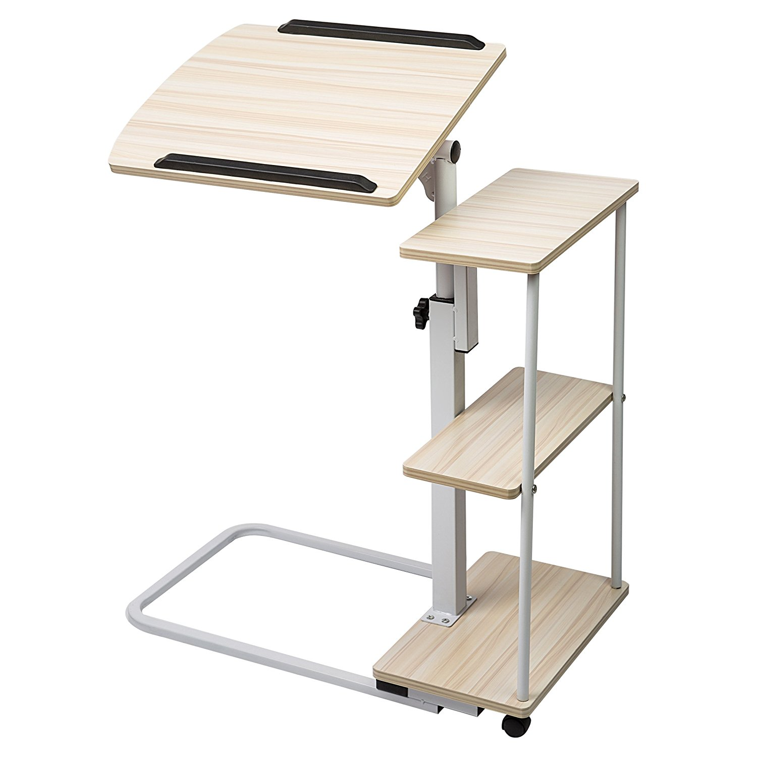 Adjustable Overbed Table with Wheels, Multi-Function Lapt...