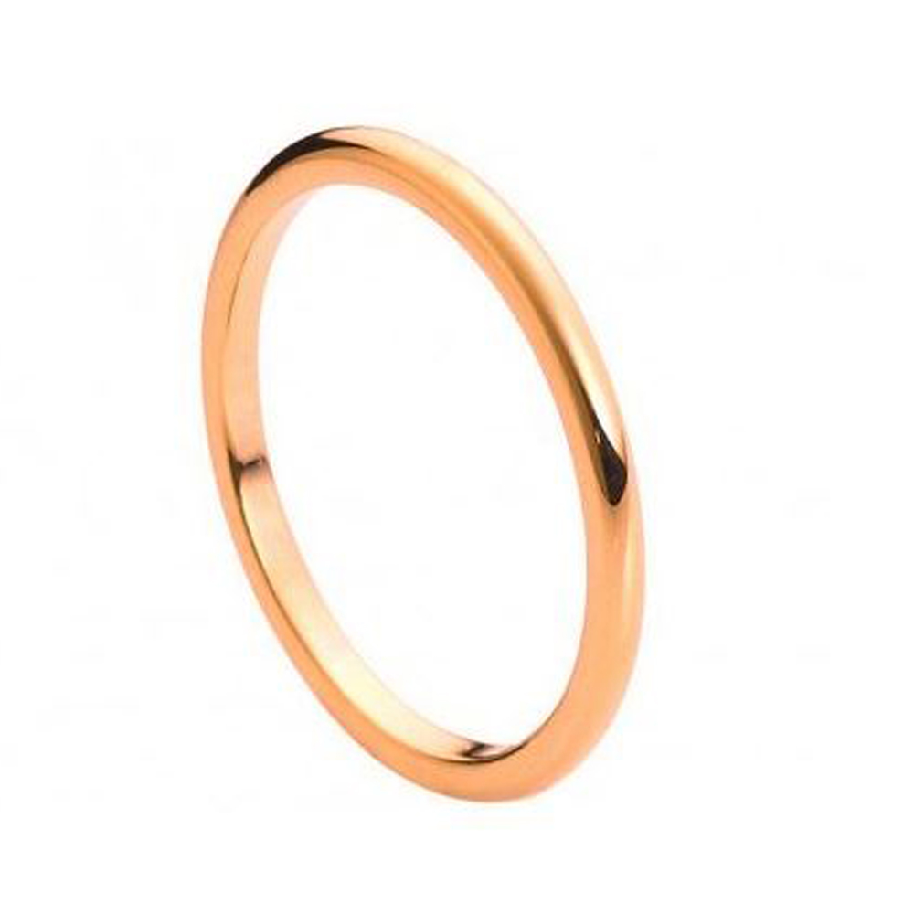 2MM Comfort Fit Tungsten Carbide Wedding Band High Polish Rose Gold Tone Thin Classic Ring (7 to 15) Size 14