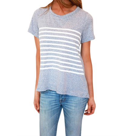Short Sleeve Striped Women Casual T-shirt Cute Tops - Cute Tops For Women Cheap