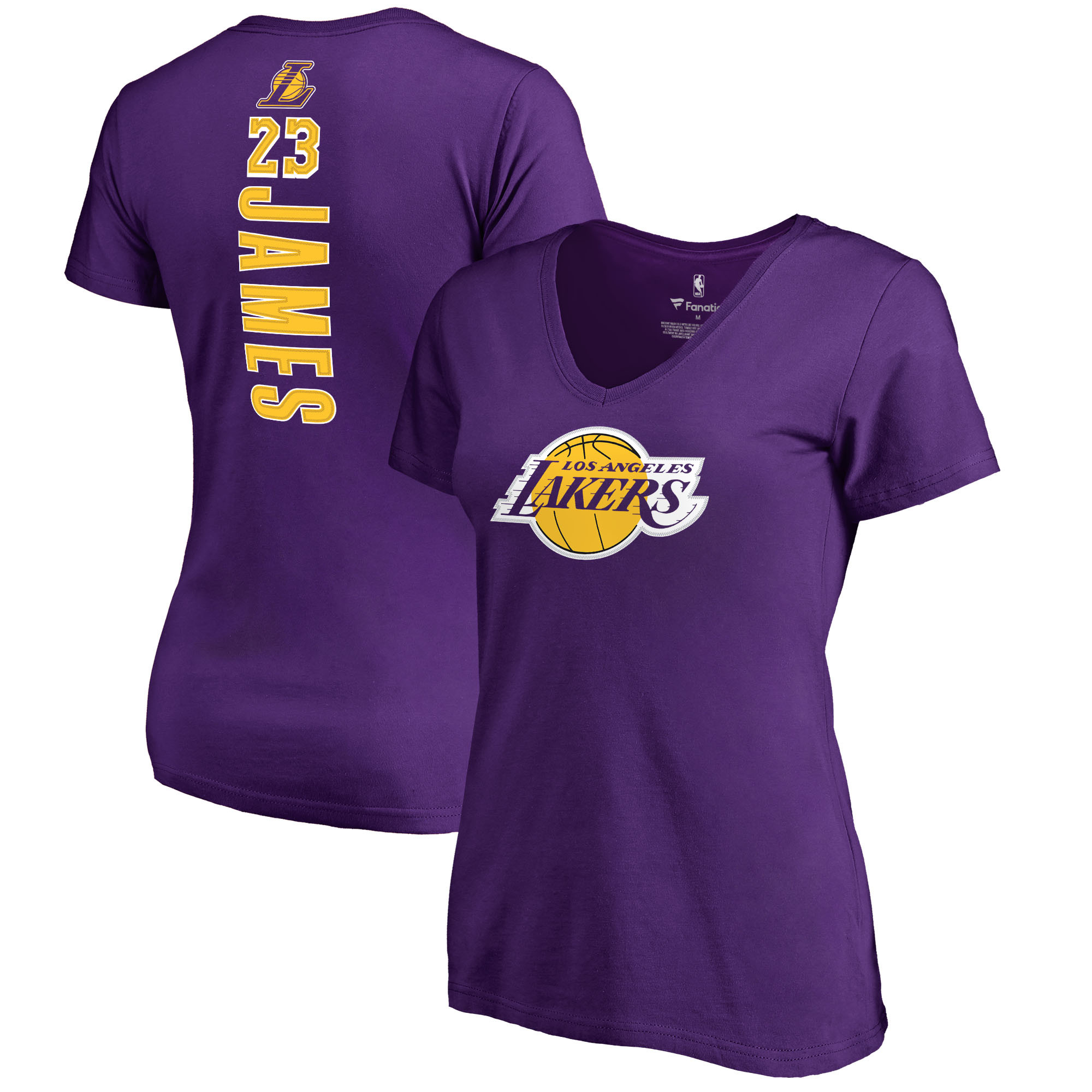 LeBron James Los Angeles Lakers Fanatics Branded Women's Backer Name & Number V-Neck T-Shirt - Purple