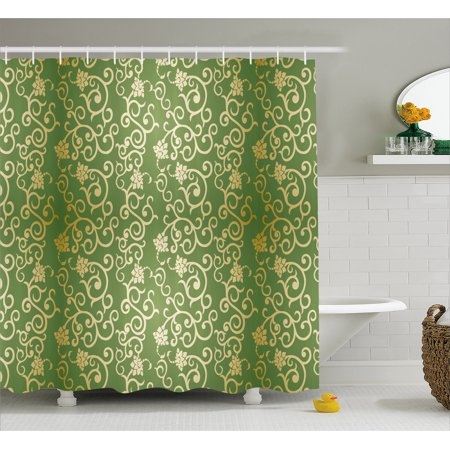 Sage Shower Curtain Old Fashioned Pattern With Vintage Curls Swirls Traditional Artistic Fl Flourishes Fabric Bathroom Set Hooks 69w X 84l