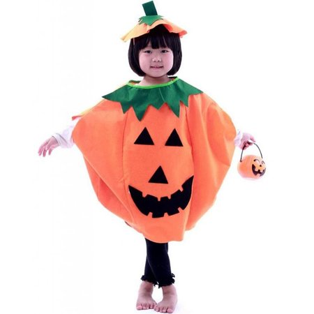 Funny Kids Children's Halloween Lantern Face Pumpkin Non-woven Costume Shirt Clothes with Beanie Hat (Orange) - Easy Pumpkin Halloween Costume