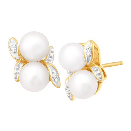 Freshwater Pearl Bud Stud Earrings with Diamonds in 10kt Gold