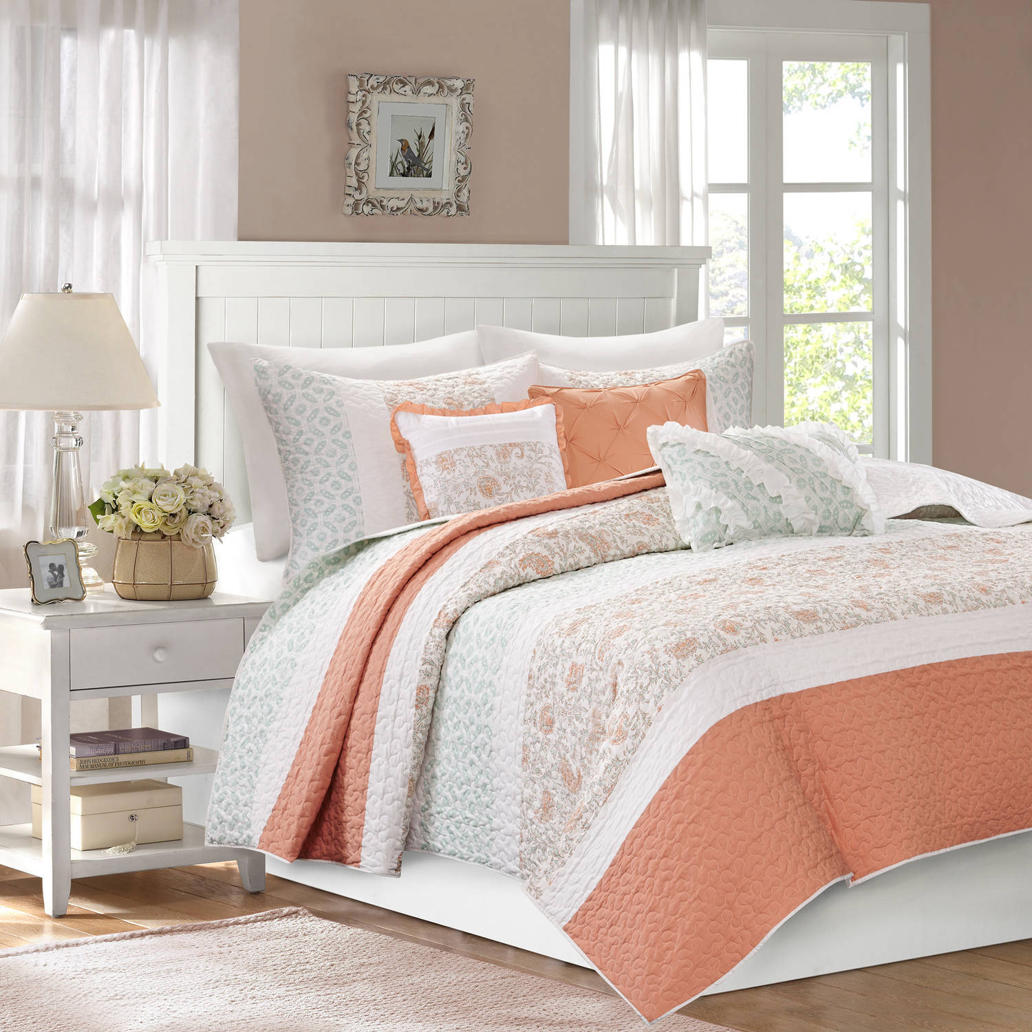 Home Essence Stella Cotton Percale Quilted Coverlet Set by E&E Co.
