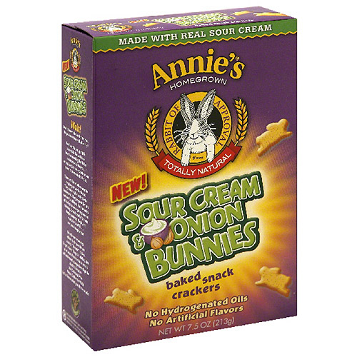 Annie's Homegrown Sour Cream & Onion Bunnies Baked Snack Crackers, 7.5 oz, (Pack of 12)