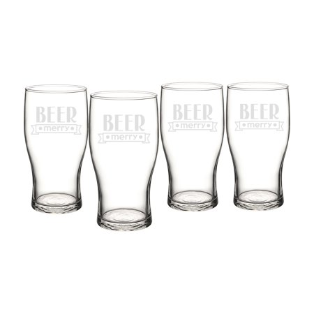 - Cathys Concepts Beer Merry Pilsner Glasses - Set of 4