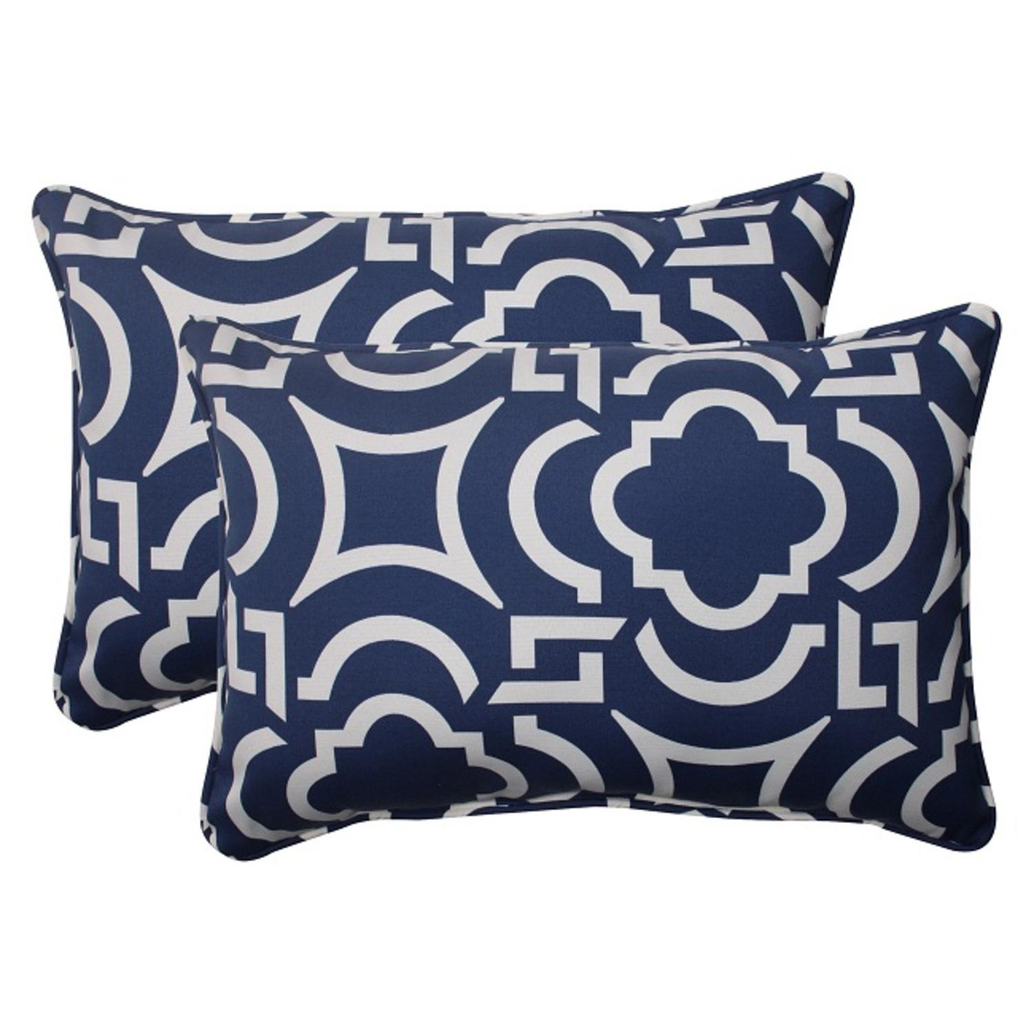 Set of 2 Geometric Navy Blue Sky Outdoor Rectangular Corded Throw Pillows 24.5""
