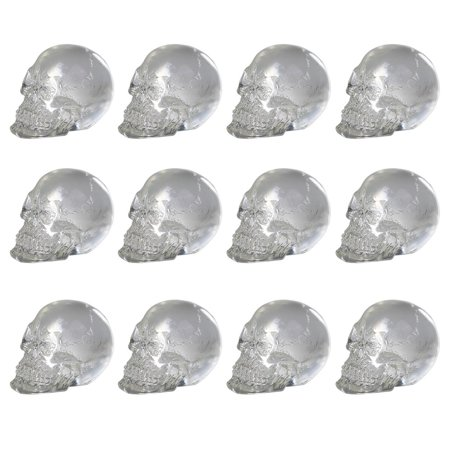 i inch Dozen Mini Translucent Clear Skull Gothic Halloween Decor 12pc Tall (Halloween Clip Art Transparent Background)