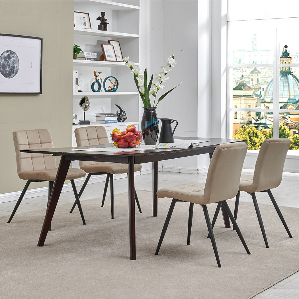 Duhome Dining Chairs Dining Room Armchairs Set Of 4 Modern Upholstered Accent Chairs With Solid Steel Legs Velvet Cushion For Living Room Grey Walmart Com Walmart Com