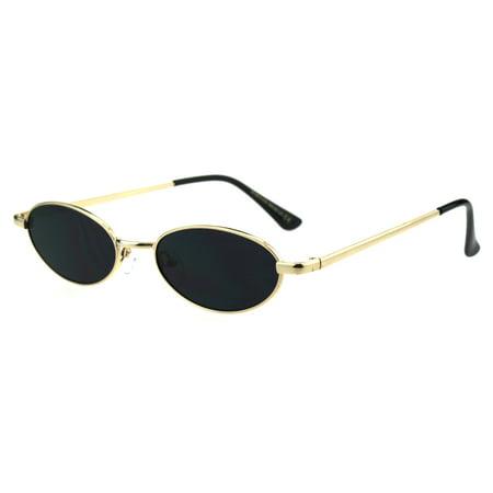 Mens Narrow Oval Metal Rim Classic Pimp Sunglasses Gold Black ()