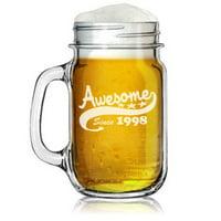 16oz Mason Jar Glass Mug w/ Handle Funny 21st Birthday Awesome Since 1998